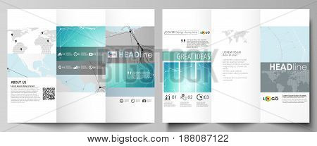 The minimalistic abstract vector illustration of the editable layout of two creative tri-fold brochure covers design business templates. Futuristic high tech background, dig data technology concept