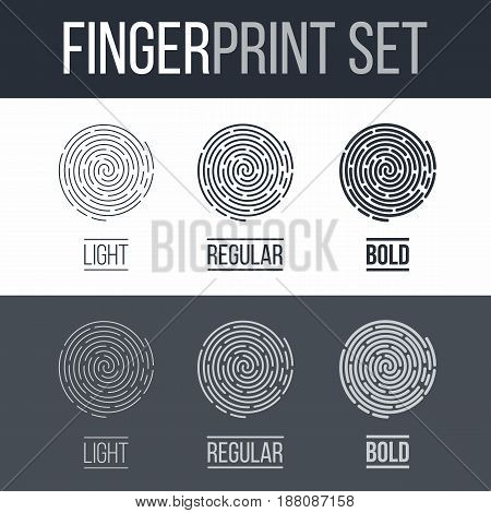 Abstract Fingerprints Set Print for Security ID on Dark and White Background