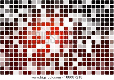 Red brown black occasional opacity vector square tiles mosaic over white background