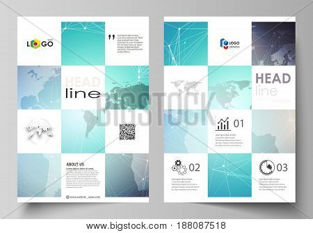 The vector illustration of the editable layout of A4 format covers design templates for brochure, magazine, flyer, booklet, report. Molecule structure, connecting lines and dots. Technology concept