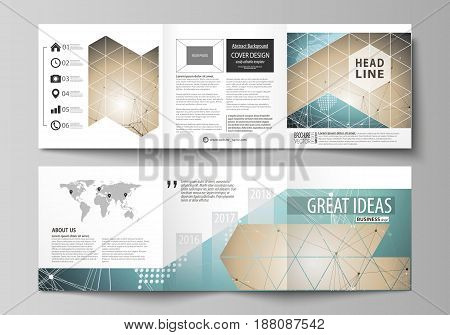 The minimalistic vector illustration of the editable layout. Two modern creative covers design templates for square brochure or flyer. Chemistry pattern with molecule structure. Medical DNA research