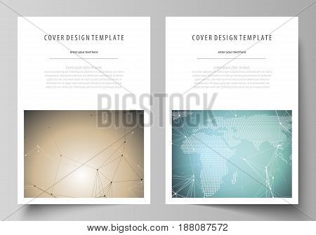 The vector illustration of the editable layout of A4 format covers design templates for brochure, magazine, flyer, booklet, report. Chemistry pattern with molecule structure. Medical DNA research