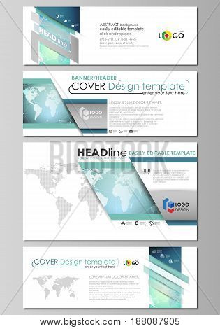 The minimalistic vector illustration of the editable layout of social media, email headers, banner design templates in popular formats. Chemistry pattern, molecule structure, geometric design background.
