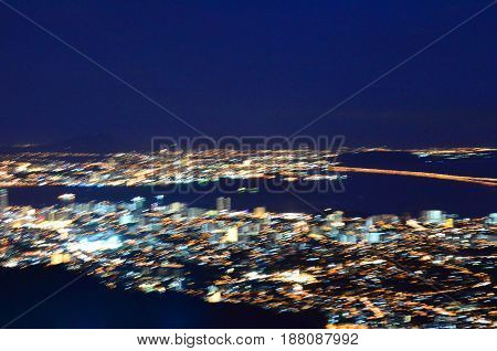 Abstract blurred city light from Penang hill, Malaysia