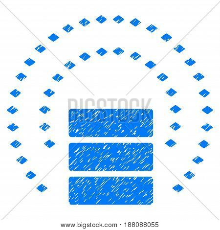 Grunge Database Sphere Shield icon with grunge design and scratched texture. Unclean vector blue pictogram for rubber seal stamp imitations and watermarks. Draft sticker symbol.