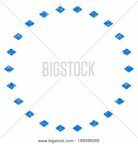 Grunge Dotted Circle icon with grunge design and unclean texture. Unclean vector blue pictogram for rubber seal stamp imitations and watermarks. Draft emblem symbol.