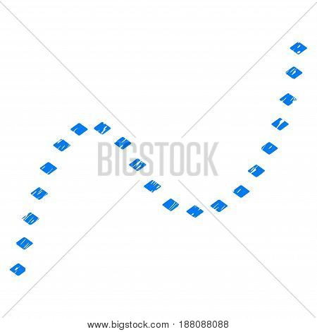 Grunge Dotted Curve icon with grunge design and unclean texture. Unclean vector blue pictogram for rubber seal stamp imitations and watermarks. Draft sticker symbol.