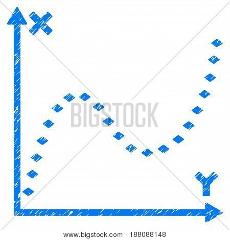 Grunge Dotted Function Graph icon with grunge design and dirty texture. Unclean vector blue pictogram for rubber seal stamp imitations and watermarks. Draft sign symbol.