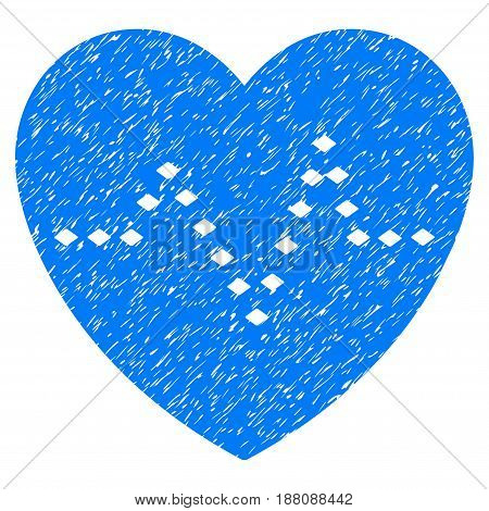 Grunge Dotted Heart Pulse icon with grunge design and scratched texture. Unclean vector blue pictogram for rubber seal stamp imitations and watermarks. Draft emblem symbol.