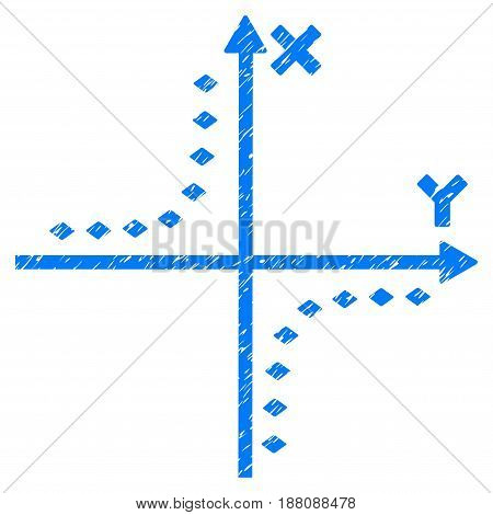 Grunge Dotted Hyperbola Plot icon with grunge design and dirty texture. Unclean vector blue pictogram for rubber seal stamp imitations and watermarks. Draft emblem symbol.