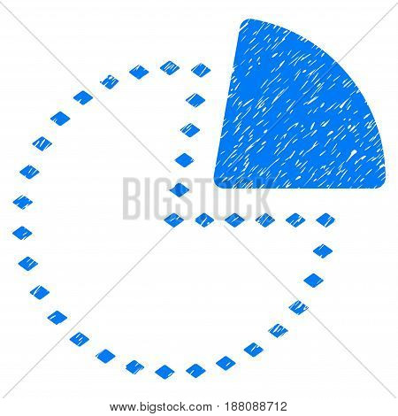 Grunge Dotted Pie Chart icon with grunge design and dust texture. Unclean vector blue pictogram for rubber seal stamp imitations and watermarks. Draft emblem symbol.