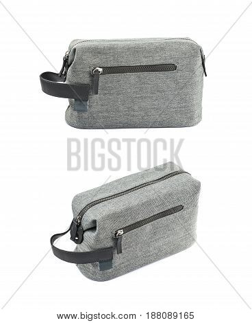Gray hygienic handbag with the zip fastener isolated over the white background, set of two different foreshortenings