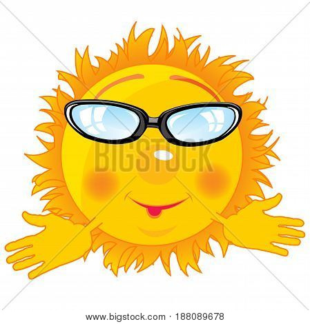 The Baby drawing alive sun bespectacled.Vector illustration