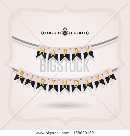Black pink and golden Happy Birthday buntings on pink gradient background