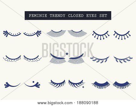 Hand drawn feminine closed pair of eyes icons set