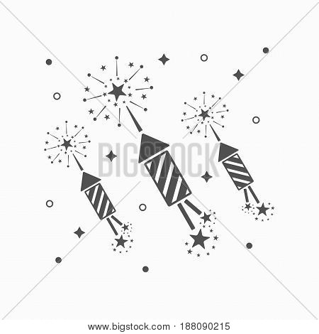 Abstract black rocket fireworks and blasts on off white background