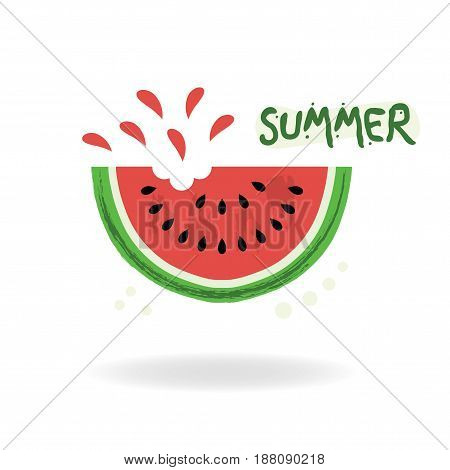 Red cut juicy summer watermelon icon on white background