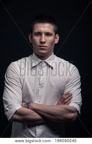 One Young Man Portrait, Upper Body, Arms Crossed,black Background