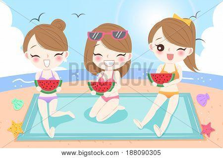 beauty cartoon eat watermelon on the beach