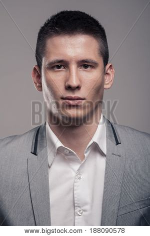 One Young Man, Upper Body, Formal Clothes, Blank Expression, Front View