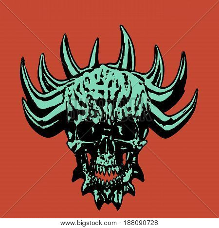 Green demonic skull with corona of thorns. Vector illustration. Apocalypse demon from hell.