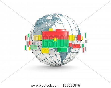 Globe With Flag Of Burkina Faso Isolated On White
