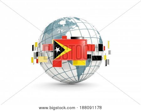Globe With Flag Of East Timor Isolated On White