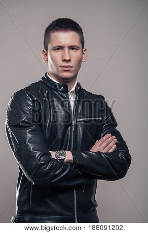 Young Man, Looking Sideways, Looking Tense, Leather Jacket,
