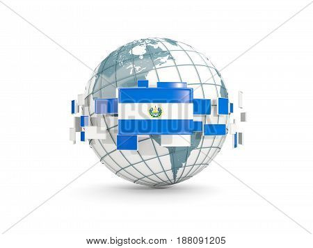 Globe With Flag Of El Salvador Isolated On White