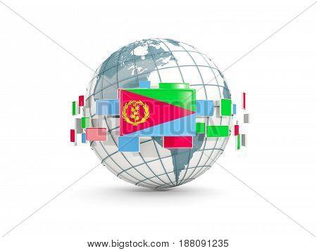 Globe With Flag Of Eritrea Isolated On White