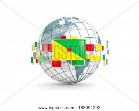 Globe With Flag Of French Guiana Isolated On White