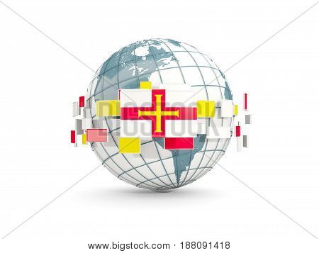 Globe With Flag Of Guernsey Isolated On White