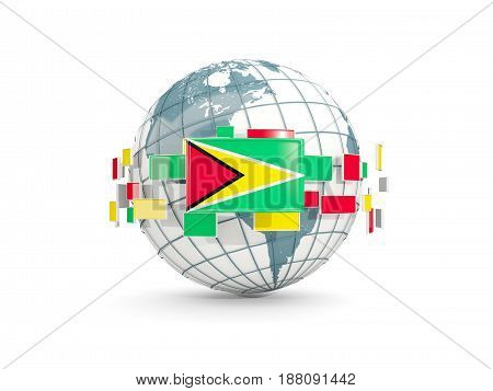 Globe With Flag Of Guyana Isolated On White