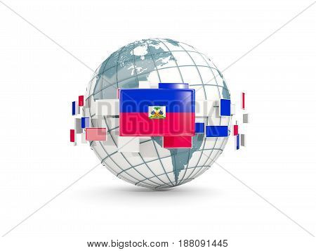 Globe With Flag Of Haiti Isolated On White