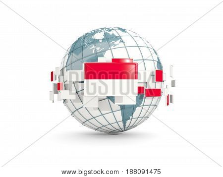 Globe With Flag Of Indonesia Isolated On White