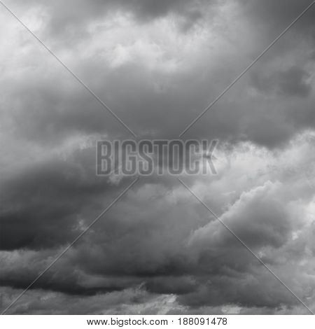 Gloomy cloudy sky. Clouds flying over horizon cloudscape.