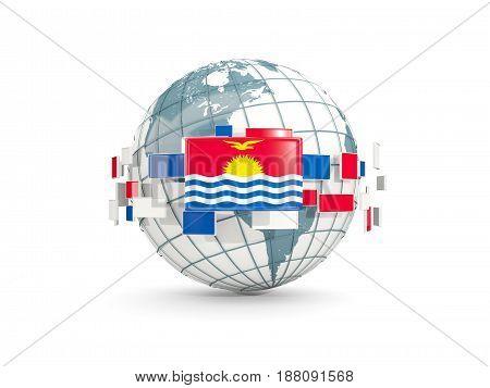 Globe With Flag Of Kiribati Isolated On White