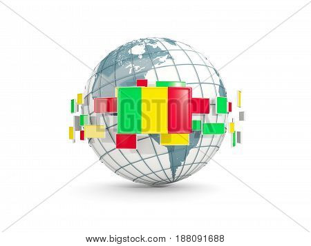 Globe With Flag Of Mali Isolated On White