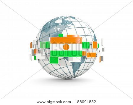Globe With Flag Of Niger Isolated On White