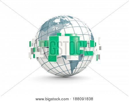 Globe With Flag Of Nigeria Isolated On White