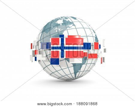 Globe With Flag Of Norway Isolated On White