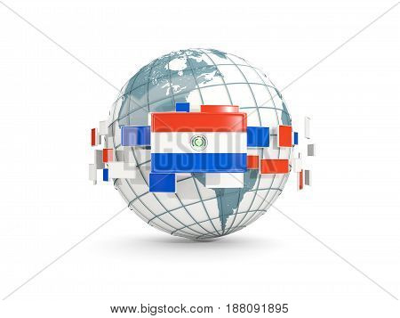 Globe With Flag Of Paraguay Isolated On White