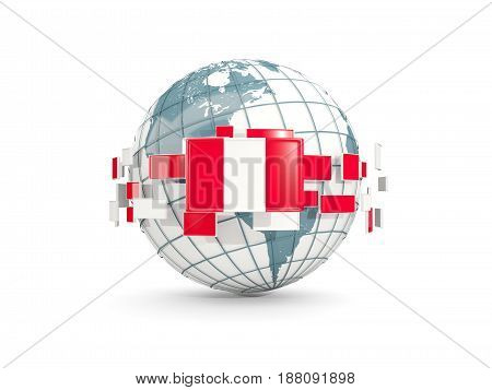 Globe With Flag Of Peru Isolated On White
