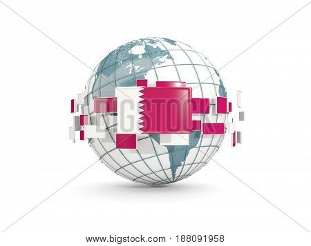 Globe With Flag Of Qatar Isolated On White