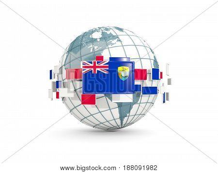 Globe With Flag Of Saint Helena Isolated On White