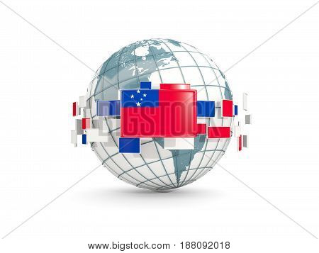 Globe With Flag Of Samoa Isolated On White