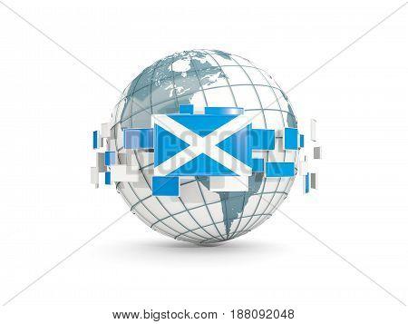Globe With Flag Of Scotland Isolated On White