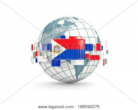 Globe With Flag Of Sint Maarten Isolated On White