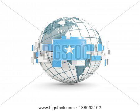 Globe With Flag Of Somalia Isolated On White