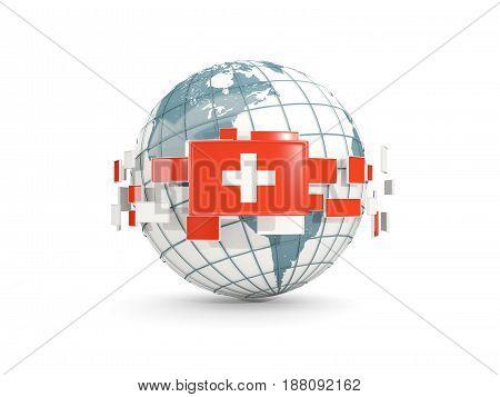 Globe With Flag Of Switzerland Isolated On White